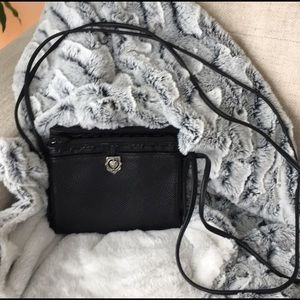 Brighton Black Leather Crossbody Purse Handbag